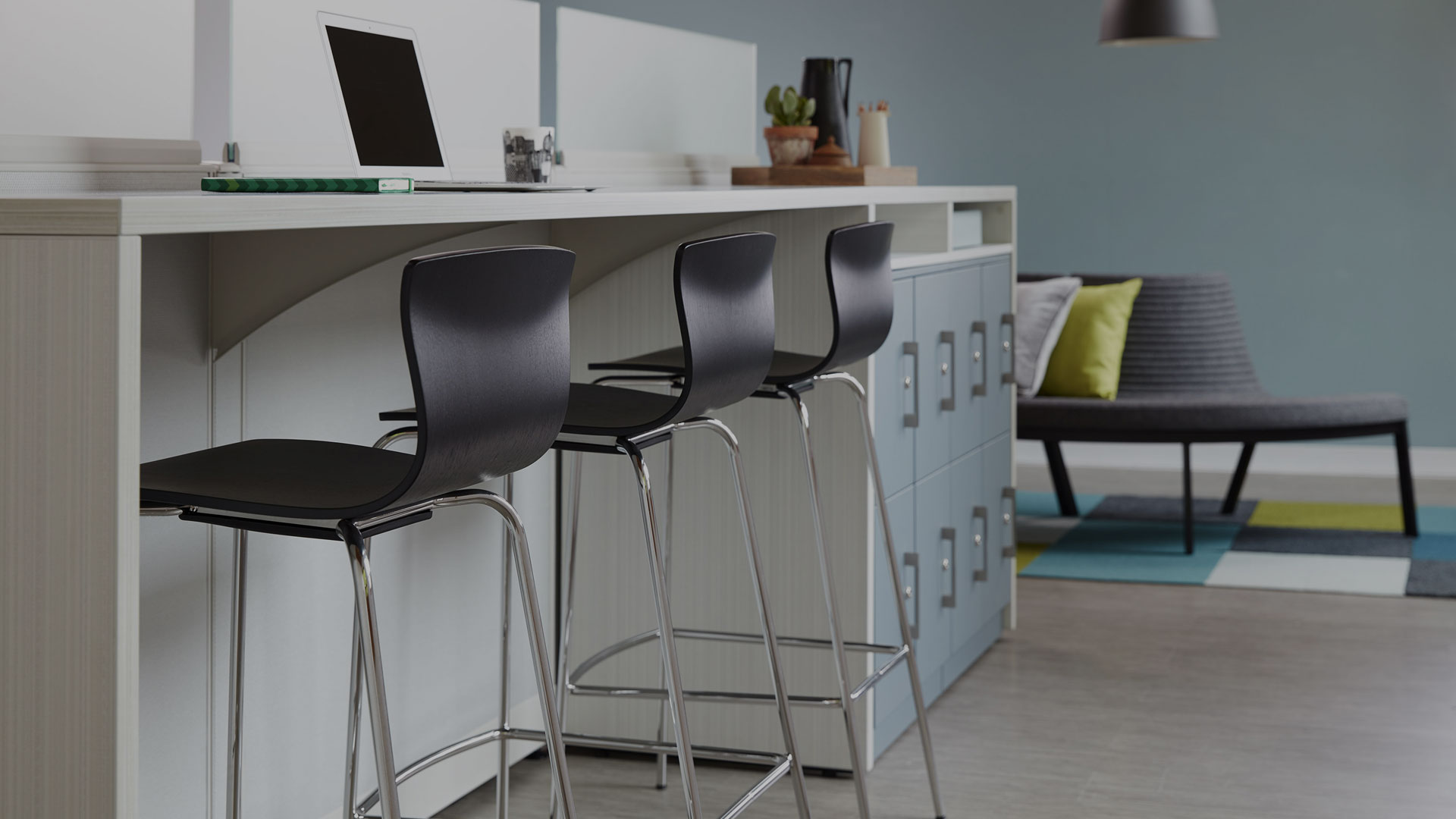Butterfly Cafe Stools and Trendway Work Table with Lockers